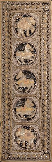 Sale 8517A - Lot 92 - A Thai embroidery panel with five roundels enclosing horses and elephants, W 172 x H 57cm