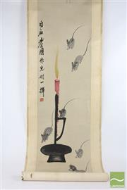 Sale 8521 - Lot 50 - Chinese Scroll Depicting Mice and a Candle (L 196cm)