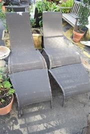 Sale 8550 - Lot 1331 - Set of Four Outdoor Lounge Chairs & Three Matching Footstools (7)
