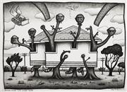 Sale 8583 - Lot 523 - Reg Mombassa (1951 - ) - Branch house with wooden heads, 2003 53.5 x 73.5cm