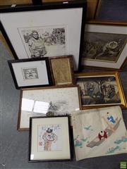 Sale 8578T - Lot 2092 - An Assortment of (7) Artworks incl: Chinese Watercolour, Hand-coloured  Engraving Chinese Circus and Other Works on Paper (framed/...