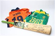 Sale 8733 - Lot 81 - Herschell Gibbs 6s Cricket Bat with Two Signed Jerseys