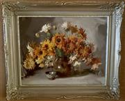 Sale 8510A - Lot 84 - Alan D Baker, Still life with marigolds, oil 37 x 49cm, signed lower right