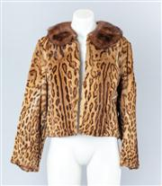 Sale 8828F - Lot 10 - An Ocelot Fur Cropped Jacket With Mink Collar By Mark Foys, Size Medium