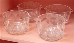 Sale 9120H - Lot 135 - Set of four cut glass antique possit pots, Diameter 15cm  one cracked