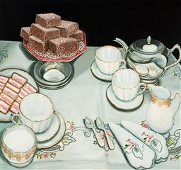 Sale 9141A - Lot 5002 - JAN HAYNES Afternoon Tea, 1986 oil on canvas 150 x 162 cm (frame: 153 x 163 x 5 cm) signed lower right