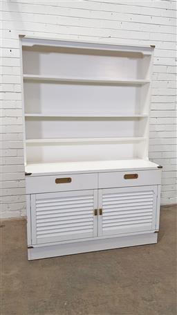 Sale 9166 - Lot 1078 - Painted cabinet with bookcase base (h:180 x w:118 x d:46cm)