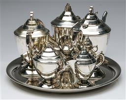 Sale 9164 - Lot 41 - Art Deco Silver Plated Tea Service For Six Persons