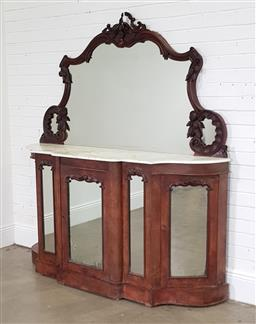 Sale 9240 - Lot 1086 - Victorian Burr Walnut Credenza, with carved shaped mirror back & white marble top, above three mirror panel doors flanked by further...
