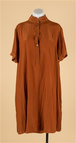 Sale 9260H - Lot 343 - A Mela Purdie button up collared dress in brown, size M.