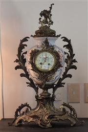 Sale 8008 - Lot 25 - French Faience Painted Marble Clock