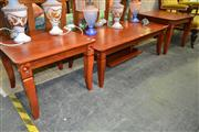 Sale 8156 - Lot 1078 - Timber Coffee Table w Central Shelf Below & Pair of Side Tables (3)