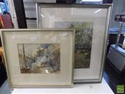 Sale 8407T - Lot 2053 - Framed Watercolour Paintings (2), On a Sunday Afternoon 2009 signed Katsumi & an unsigned Forest Scene.