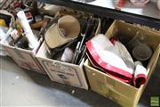 Sale 8478 - Lot 2231 - 3 Boxes of Sundries incl Kitchenwares, Cutlery, Trays & Ceramic Figures