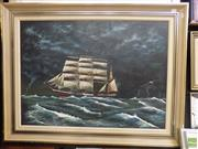 Sale 8561 - Lot 2012 - B. Tindell Nautical Scene Acrylic on Canvas Board SLR