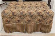 Sale 8677B - Lot 616 - A button top ottoman with lion motif upholstery and French tassels, H 45 x W 90 x D 70cm