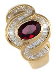 Sale 8946 - Lot 398 - AN 18CT GOLD RUBY AND DIAMOND RING; centring an oval cut synthetic ruby of approx. 1.15ct to infinity knot surround set with tapered...