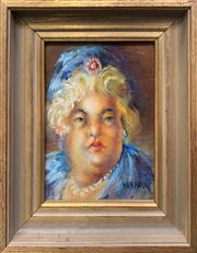 Sale 9008 - Lot 2007 - Nan Paul Aunt No. 3 in Blue oil on board, 25 x 20cm (frame), signed lower right