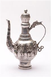 Sale 9032 - Lot 19 - Immortals themed Chinese metal teapot (H22cm)
