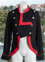 Sale 9044H - Lot 29 - A Wheels & Doll Baby black military style button front jacket with red border detail, size 12 (new with tags)