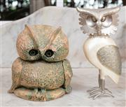 Sale 9071H - Lot 4 - A terracotta owl together with a pearlescent painted example of a tawny owl, taller 18cm