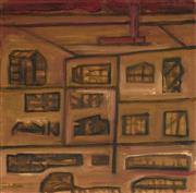 Sale 9082 - Lot 2010 - David Porter Untitled (Buildings and Rear Windows) oil on canvas 50.5 x 50.5cm, unsigned -