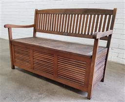 Sale 9102 - Lot 1270 - Timber lift top two seater garden bench (h90 x w127 x d60cm)