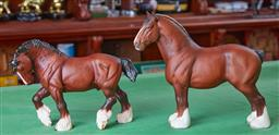 Sale 9103H - Lot 82 - One Doulton, One Beswick ch. Burnham beauty Clydesdale horses in a matte finish, Larger length 33cm