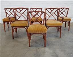 Sale 9151 - Lot 1160 - Set of 6 cane chairs with upholstered seats (h:86 x w:46 x d:28cm)