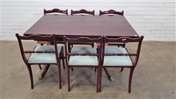 Sale 9157 - Lot 1090 - Timber extension dining table & 6 chairs