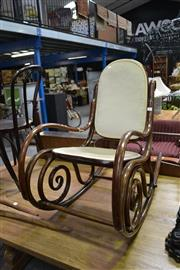 Sale 8019 - Lot 1097 - Beech Bentwood Rocking Chair with Velvet Panels