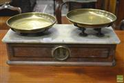 Sale 8359 - Lot 1059 - Victorian Inlaid Mahogany Shop Scales, with brass strays & marble top