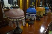 Sale 8550 - Lot 1534 - Collection of Six Glass Shade Table Lamps