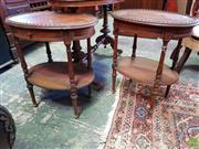 Sale 8598 - Lot 1073 - Pair of Louis XVI Style Walnut Bedsides or Side Tables, each with oval top, single drawer, turned supports & shelf (H:61 W:54 D:40cm)