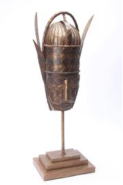 Sale 8677 - Lot 41 - African Bronze Mask on Stand (H 74cm)