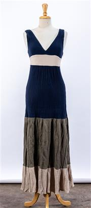 Sale 8891F - Lot 59 - A Max&Co crimped cotton sleeveless maxi dress with blue, white and khaki paneling, size 10