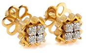 Sale 8946 - Lot 391 - A PAIR OF DIAMOND CLUSTER STUD EARRINGS; set in 18ct gold with 8 round brilliant cut diamonds totalling approx. 0.22ct, top diam. 8m...