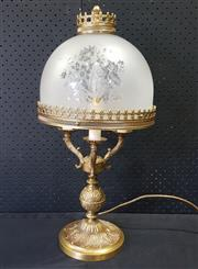 Sale 9031 - Lot 1078 - Brass Table Lamp, with frosted glass shade (H:55cm)