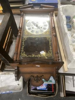 Sale 9106 - Lot 2386 - Reproduction wall clock with key and pendulum (h:63cm)