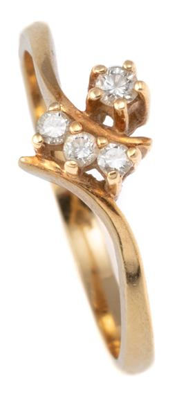 Sale 9145 - Lot 363 - AN 18CT GOLD DIAMOND RING; bypass design, claw set with 4 round brilliant cut diamonds, size L1/2, wt. 2.07g.