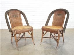 Sale 9151 - Lot 1183 - Pair of woven cane outdoor chairs (h:90 x w:57 x d:63cm)