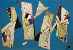 Sale 9178 - Lot 555 - ERIC SMITH (1919 - 2017) Quartet,1988 oil on canvas 158.5 x 229 cm (frame: 165 x 235 x 4 cm) signed and dated lower right