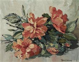 Sale 9180A - Lot 5071 - RUTH C. WILLIAMS (1897 -1982) Hibiscus oil on canvas on board 29 x 36 cm (frame: 47 x 55 x 3 cm) signed lower right, inscribed and t...