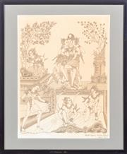 Sale 8517A - Lot 52 - Gusti Nym Saudara Lempad, Bali - The Angel and Rajapala, A Balinese Fairytale image size 47 x 34cm