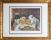 Sale 8562A - Lot 218 - A Paul Cezanne Ltd Ed print, Still Life with Fruit, 87/1200, total size with frame H 88 x W 114cm, in decorative gilt frame