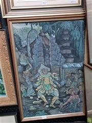 Sale 8645 - Lot 2023 - Artist Unknown Balinese acrylic on cotton,