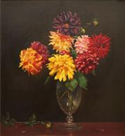 Sale 8665 - Lot 565 - Sybil Craig (1901 - 1989) - Zinnias 72.5 x 66.5cm