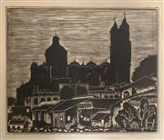 Sale 8784 - Lot 2007 - Carl Pappe (1900 - 1998) - Santa Prisca, 1758 Taxco woodcut , signed lower right and titled lower left -