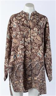 Sale 9003F - Lot 11 - An Adrienne Vittadini Brown Floral Silk Tunic, size M-L