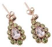 Sale 9054 - Lot 380 - A PAIR OF 9CT ROSE GOLD GEMSET CLUSTER EARRINGS; each centring a pear cut morganite to surround and stud fitting set with graduated...
